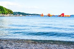 The inflatable slides. Of the sea, Vodice, Croatia stock image