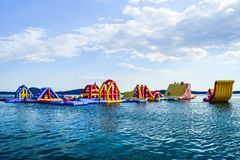 The inflatable slides. Of the sea, Vodice, Croatia royalty free stock photos