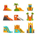 Inflatable slides set, summer amusement park bouncy equipment vector Illustrations on a white background Royalty Free Stock Images