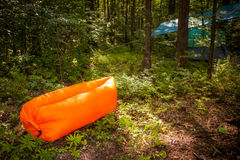 Inflatable sofas. Out in the wild camping Royalty Free Stock Photo