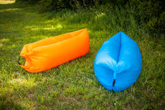 Inflatable sofas. Out in the wild camping Stock Photography