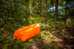 Inflatable sofas. Out in the wild camping Stock Photo