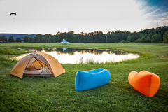Inflatable sofas. Out in the wild camping stock images