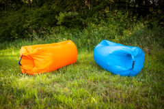 Inflatable sofas. Out in the wild camping Royalty Free Stock Image