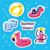 Inflatable swimming float set. Cute water toys flamingo, ball, unicorn floats. Beach party vector summer stickers. Pool stock illustration