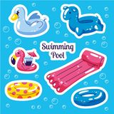 Inflatable swimming float set. Cute water toys flamingo, swan, rings floats. Beach party vector summer stickers. Trendy royalty free illustration