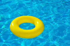 Inflatable tube floating in swimming pool Stock Photos