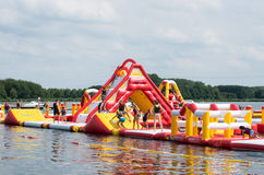 Inflatable water park Stock Photo