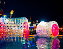 Inflatable water roller to children present in a amusement park Royalty Free Stock Image