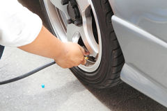 Inflate tires Stock Image