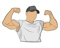 Inflated body muscle man vector drawing illustration stock photography