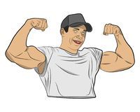 Inflated body muscle man vector drawing illustration royalty free stock image