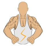 Inflated body muscle man vector drawing illustration royalty free stock images