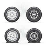Inflated and deflated wheel Royalty Free Stock Image