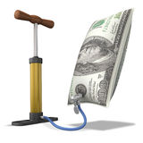 Inflated Dollar. (3D concept with bicycle hand pump Royalty Free Stock Photography