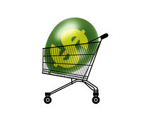 Inflated purchasing power. Black silhouette of a shopping caddy with a green dollar balloon inside, a symbol of an inflated purchasing power Royalty Free Illustration