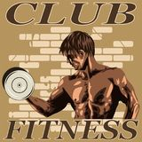 Sports man with dumbbells royalty free illustration