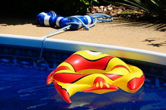 An Inflated Toy Fish In A Backyard Swimming Pool Stock Image