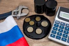 inflatieroebel Russische sancties euro en dollar versus roebel Stock Fotografie