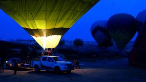 Inflating a Green Hot Air Balloon in Cappadocia. Central Anatolia, Turkey Royalty Free Stock Images