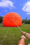 Inflating a Hot Air Balloon stock photography