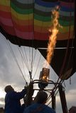 Inflating Hot Air Balloon. In Early Evening Stock Image