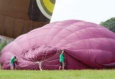 Inflating a Hot Air Balloon Stock Photo