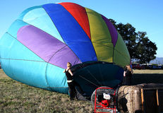 Inflating Hot Air Balloon Royalty Free Stock Photography