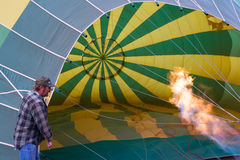 Inflating a hot air balloon Royalty Free Stock Images