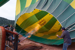 Inflating a hot air balloon Stock Image