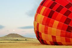 Inflating Hot Air Balloon in Vivid Color. Stock Photography