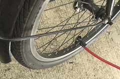 Inflating used bicycle wheel Royalty Free Stock Photos