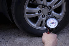 Inflating the wheels Stock Photos