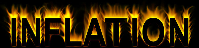 Inflation. Word in abstract fire Stock Illustration