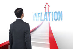 Inflation against red arrow with steps graphic Royalty Free Stock Photography