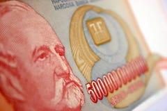 Inflation cash. Five hundred milliard dinara in closeup stock photo