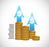 inflation coin graph sign concept Stock Image