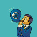 Inflation in the euro area (euro Inflation, euro crash, euro crisis). Vector illustration. Author's illustration about the inflation of the euro, the financial Stock Images