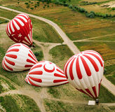 Inflation of a hot air balloon. Turkey. Stock Photos