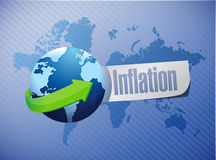 Inflation international globe sign concept Stock Photos