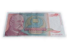 Inflation money. Paper money during big inflation in 1993. in yugoslavia. this paper money was in use back then Royalty Free Stock Photography