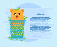 Inflation - Piggy bank and money thrown in a dustbin. Banner,  poster with of text inscriptions. Cartoon, flat style Stock Photo