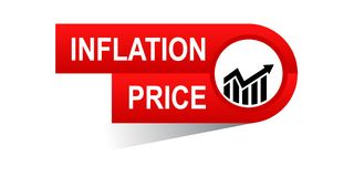 Inflation price banner. Icon on isolated white background - vector illustration Royalty Free Stock Photos