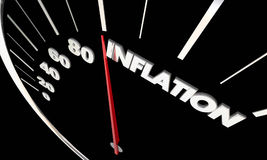 Inflation Rising Prices Speedometer Tracking Higher Costs 3d Ill Stock Images