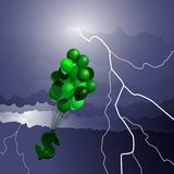Inflation storm. Inflation depicted by dollar sign floating into storm Stock Photography