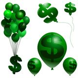 Inflation symbols. Balloon and dollar sign vector inflation symbols Stock Photography