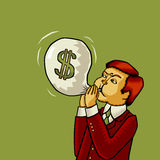 Inflation of the U.S. Dollar (Dollar inflation, dollar crash, dollar crisis). Vector illustration. Stock Image