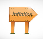 Inflation wood sign concept illustration Stock Photo