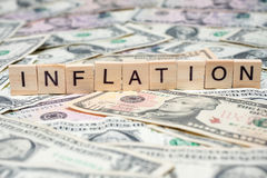 INFLATION in wooden block Stock Image