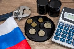 inflationrubel E euro och dollar vs rubel Arkivbild